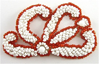 "Designer Motif with White and Red Beads  3"" X 2"""
