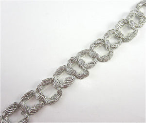 "Trim with Bullion Silver Thread Intertwined Rope Effect 1"" Wide Sold by the Yard"