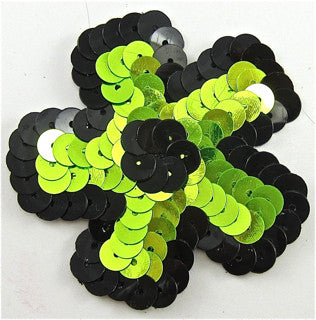 Flower Lime Green with Black 2.25""