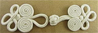 "Frog Closure with White Rope 5.5"" x 2"""