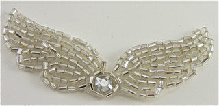 Designer Motif Wings with Silver Beads and Rhinestone 2.75