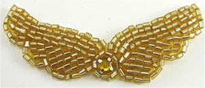 "Wings Gold Beads and Rhinestone, 3""x 1"""