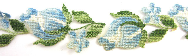 "Trim Cotton Blue and Green Emboidery 1"" Wide"