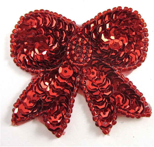 "Bow with Red Sequins and Beads 2"" x 2"""