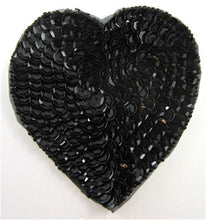 Load image into Gallery viewer, Heart Black Sequins and Beads in 4 Size Variants
