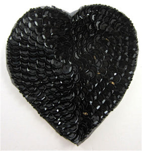 Heart Black Sequins and Beads in 4 Size Variants