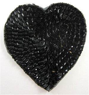 Heart Black Sequins and Beads 3""