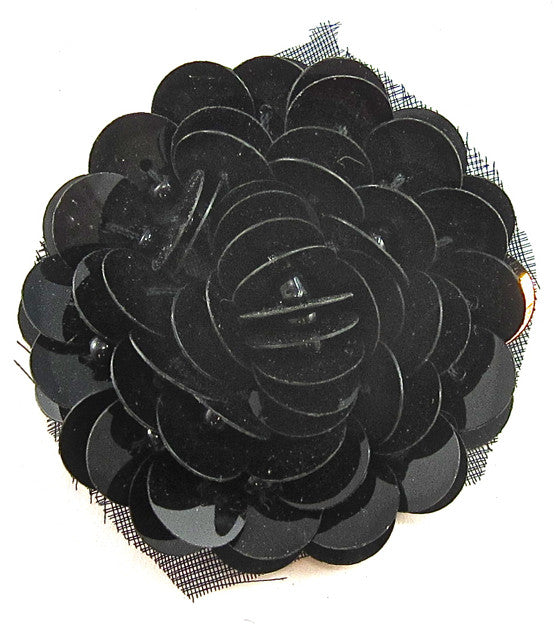 Flower with Black High Rise Sequins 1.5""