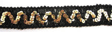 Load image into Gallery viewer, Trim with Black Metallic Thread and ZigZag Gold Sequins  2 yard remnant 1""