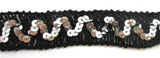 Trim with Black Tinsel Thread and Zigzag Silver Sequins 1""