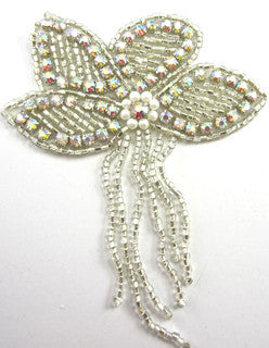 "Flower with Silver Beads and  AB Rhinestone Fringe  3.5"" x 4"""