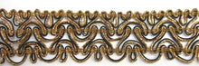 "Load image into Gallery viewer, Trim with Bronze Bullion and Black 2"" Wide, Sold by the Yard"