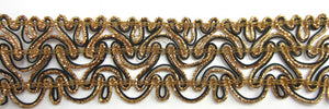 "Trim with Bronze Bullion and Black 2"" Wide, Sold by the Yard"