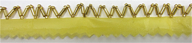Trim One Row of ZigZag Gold Beads with Netting 1/8