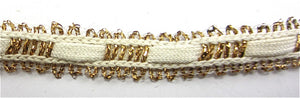 "Trim with Cotton and Gold Bullion Thread 1/4"" Wide"