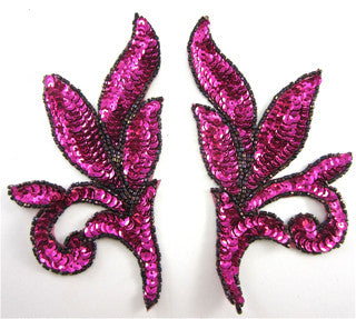 "Leaf Pair with Fuchsia Sequins and Beads, 7"" x 3.5"""