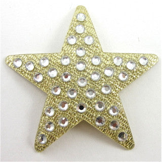 Star with Swarovski Silver Crystals Gold Background Iron-On Transfer 1 6/8""