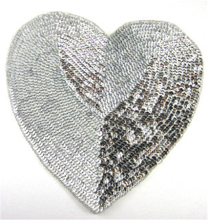 Heart with Silver Sequins and Beads 10""