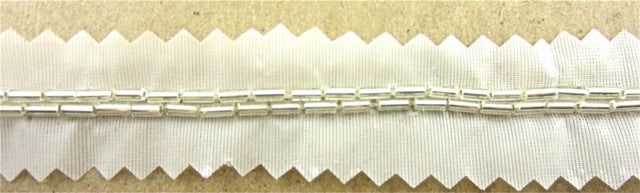 Trim Two Rows Silver Beads 10 yards Each Some Tarnish 1/4