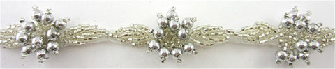 Trim High Quality Vintage with Silver Beads and Bead Cluster on netting 1""