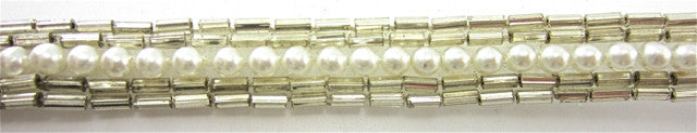 "Trim with Silver Bead and one Row of Pearls 1/2"" Wide"