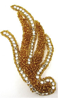 "Designer Leaf Motif with Raised Gold Beads and Many High Quality Rhinestones 6"" x 3"""