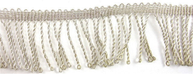 "Fringe Shiny Silver Beige Bullion Trim 2"" Wide Sold by the Yard"