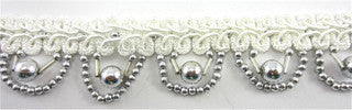 "Trim with White Cotton Thread Banding and Looping Silver Beads 1"" Wide"