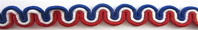 Trim Red White and Blue Looped 1/4