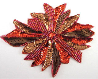 "RED MULTI-COLORED SEQUIN AND BEADED FLOWER WITH BEADS. 6.5"" X 5.5"""