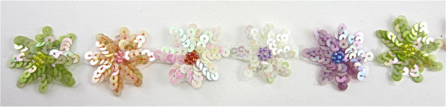 "SPECIAL SALE!  Trim by the Yard  or an assortment of 5 colors with Multi-Colored Sequin Flowers 1"" Wide"