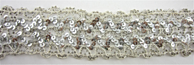 "Trim with Three Rows of Silver Sequins Intertwined with Cotton Thread 1"" Wide"