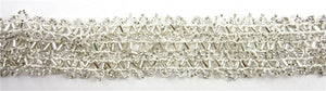 "Trim with 6 Rows of Silver Beads and Beige Cotton Thread 1.5"" Wide, Sold by the Yard"