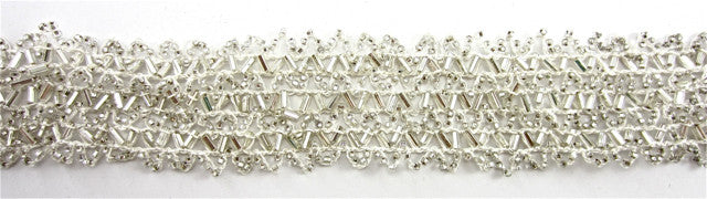 Trim with 6 Rows of Silver Beads and Beige Cotton Thread 1.5