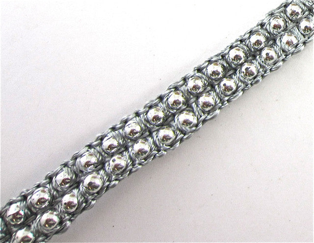 "Trim with Two Rows of Beads and Grey Thread 1/2"" Wide"