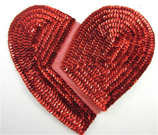 "Red Broken Heart All Sequin 7"" x 6"""
