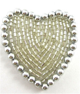 Heart Silver with SIlver Beads and Pearls 1.5""