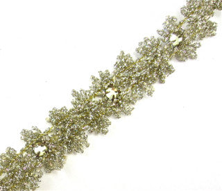 Trim Greenish Tinsel With Lite Yellow/Green Rhinestones 1""
