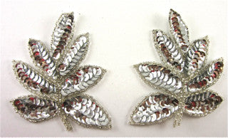 "Leaf Pair with Silver Sequins and Beads 4"" x 3"""