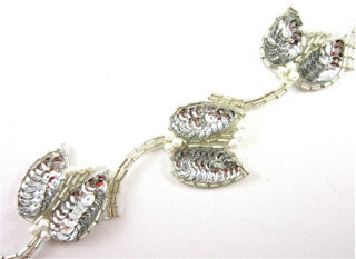 "Trim with Silver Beaded Leafs and white Pearls 2"" Wide"