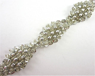 "Trim with Silver High Rise Beads of different Shapes and Size 1"" Wide"