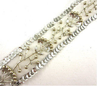 "Trim with Flower made with Silver Sequins and Pearls 1.5"" Wide"