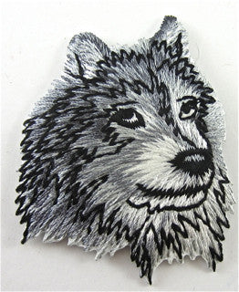 "Wolf Black, Grey and White Embroidered Iron-on 2"" x 2"""