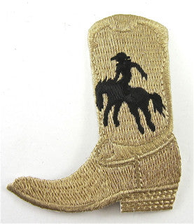 "Cowboy Boot, Taupe and Black Embroidered Iron-On  2.5"" x 2"""