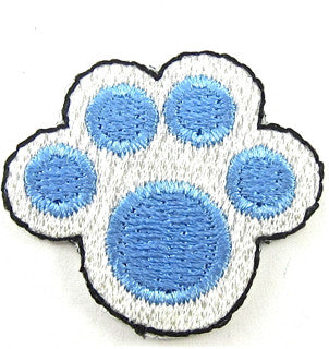 "Dog Paw Print, Blue and White Embroidered Iron-on  1.25"" x 1"""