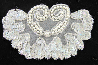 "Designer Motif with Iridescent Sequins and White Pearls 5"" x 3"""