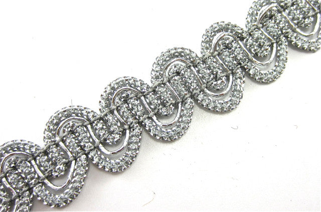 "Trim with Looping Grey Tinsel Thread and Silver Wire Intertwined 1/2"" Wide"