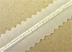 "Trim by the Yard Two Rows Crystal Iris Bugle Beads 1/8"" Wide"
