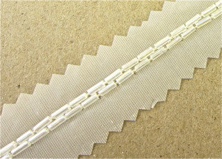Trim by the Yard Two Rows Crystal Iris Bugle Beads 1/8