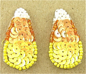 "Candy Corn Pair, Sequin Beaded in 3 variants in size:  1.5"", 1.75"" , 2"""